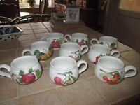 set of Portmeiron pottery mugs