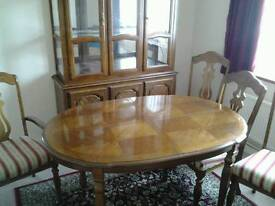 Dinning table 6 chairs & matching display cabinet.