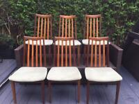 SIX VINTAGE/ANTIQUE MID-CENTURY G-PLAN TEAK & FABRIC DINING CHAIRS EXCELLENT PRE-LOVED CONDITION