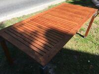 Solid wood garden table ...170 cms x 80 cms