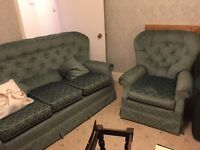 FREE TO COLLECT - Settee and 2 chairs (3 piece suite) with Fire labels