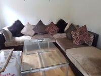 Leather & velvet taupe 4 piece sofa with footstool and 8 contrasting cushions
