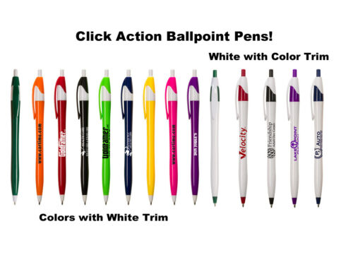 """500 - Low Cost """"Click"""" Ballpoint Pens Custom Printed Personalized w/Your Logo"""
