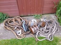 Old naval Block and Tackle for sale.