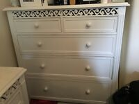 White French boudoir / shabby chic chest of drawers and bedside table