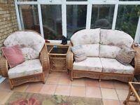 Five piece cane conservatory set
