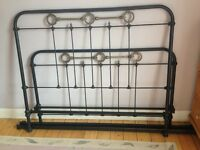 Solid cast iron and brass bed frame - vintage French antique