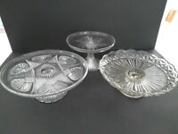 Glass wedding cake stands