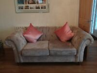 Stunning Next Gosford Two Seater chesterfield sofa in silver Sumptuous Velour. Only 6 months old