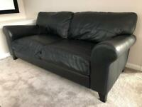 Black Leather 3 seater Schreiber Sofa - Very good condition