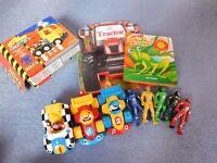 Wow Racing cars, mega bricks truck, 5 superhero figures and books