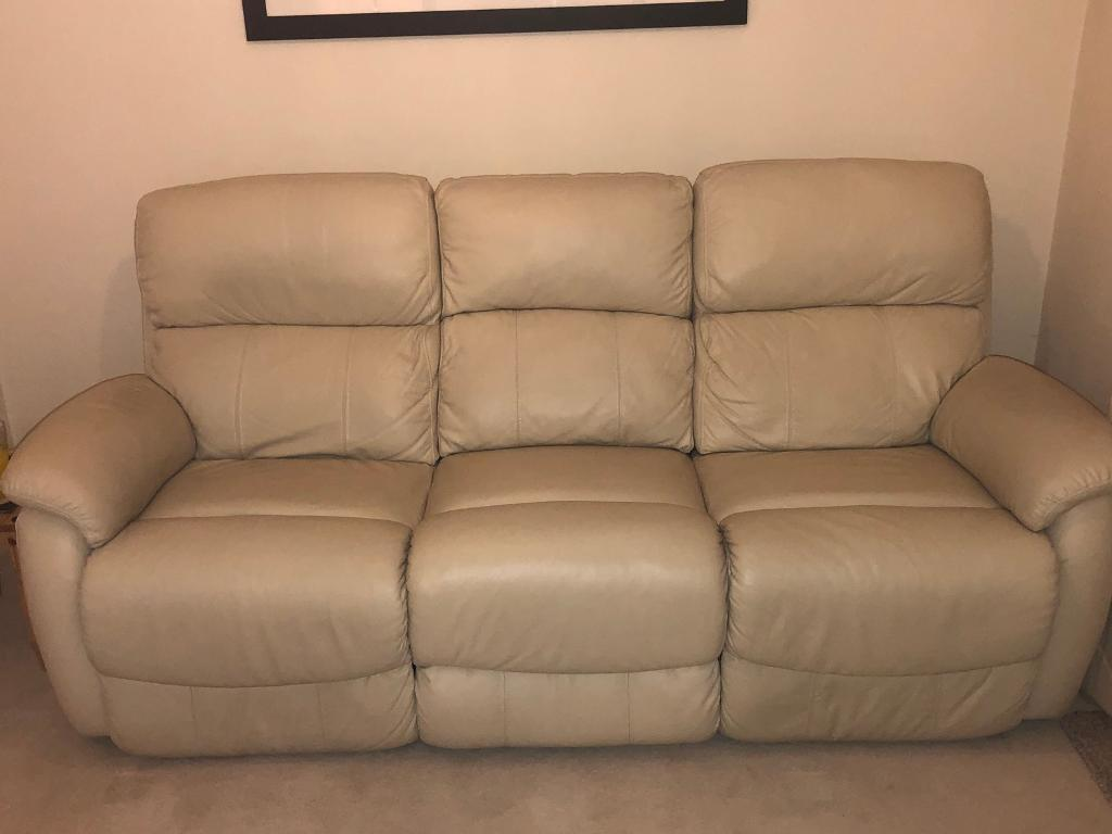Cream Leather Suite Set Recliner Sofa Swing Chair And