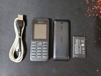 Nokia 130 Black Unlocked - on all networks Phone with TORCH