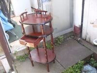 HALLWAY STAND HAS 3 SHELVES AND DRAWER VERY GOOD CONDITION
