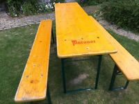 ORIGINAL GERMAN BEER KELLER FOLDING TABLE & SENCH SETS