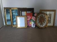 Vintage picture frames and pictures