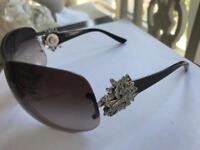 Stunning Bvlgari designer ladies sunglasses with detachable Swarovski crystal brooches