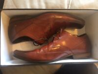 Mens Leather Tan / Brown Laced Shoes Size 9 Dune