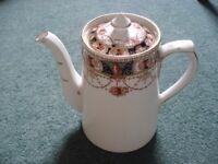 BURGESS BROTHERS CARLISLE WARE BONE CHINA COFFEE POT WITH MATCHING LID