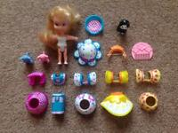 90's Tomy Popsy doll and accessories.