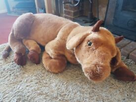 LARGE FUR FABRIC BULL TOY
