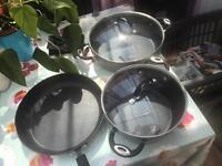 Heavyweight saucepans and frying pan