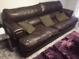 Furniture Village brown leather 3-seater sofa and armchair