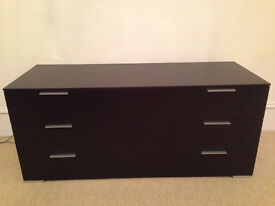 Chest of Drawers in Dark Walnut Brown Wood with Three Large Drawers (stunning item)