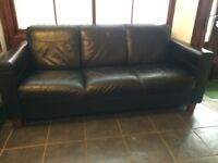 Black leather sofa 3 seater settee