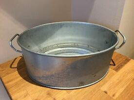 Oval Planter with handles Galvanised Material