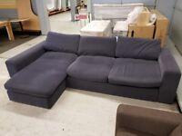 Large Blue Fabric Corner Sofa