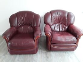 2 very pre loved Italian leather armchchairs
