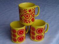 Vintage retro tea coffee mugs 1960s 1970s C&E Longton Staffordshire. Cool retro colour