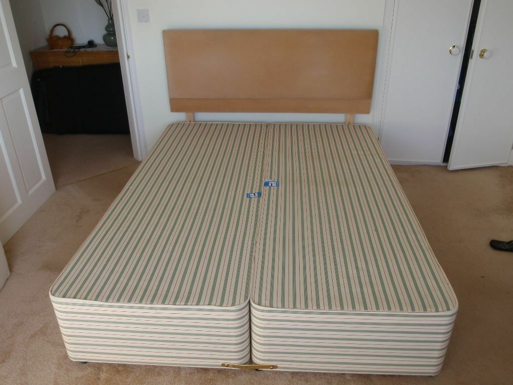 King Size 5 39 Divan Bed Base And Dralon Headboard No Drawers Base Only No Mattress Exlnt