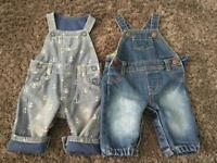 2 Baby dungarees. Up to 3 months