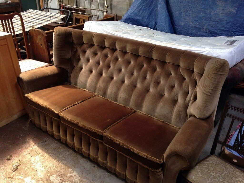 Button Couch Chesterfield Monks Fabric Sofa Wing Back High Back Vintage Brown