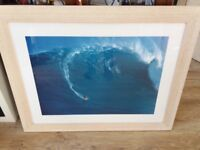 Large framed SURF print, laird hamilton at JAWS, Maui 100cm by 78cm.