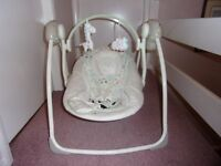 Baby swing battery operated with a variety of musical tunes. Good condition