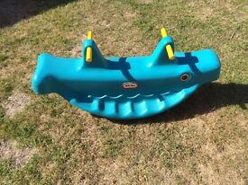 Little Tykes SEESAW / ROCKER WHALE, Sturdy blue and yellow.