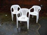 Plastic Garden Chairs - White.