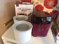 Andrew James Ice Cream Maker 1.5L inc 2 bowls digital timer