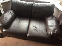 Chocolate Brown faux leather Sofa