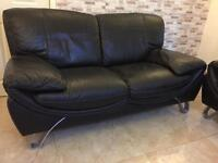 black leather sofa from dfs 1 +2 seater