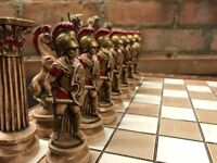 Highly collectable hand made Greek heavy chess board and pieces ceramic