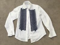 Boden women's white shirt with navy embroidery detail at front, size uk 6