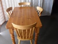 PINE FARMHOUSE STYLE DINING TABLE WITH FOUR DINING CHAIRS KITCHEN TABLE AND CHAIRS FREE DELIVERY