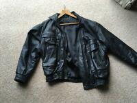 Men's X LARGE black Real Leather Jacket