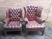 Genuine Vintage 2 full leather chesterfield armchairs