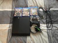PlayStation 4 with 2 controllers, headset and 3 games