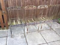 French Metal frames chairs and stool.